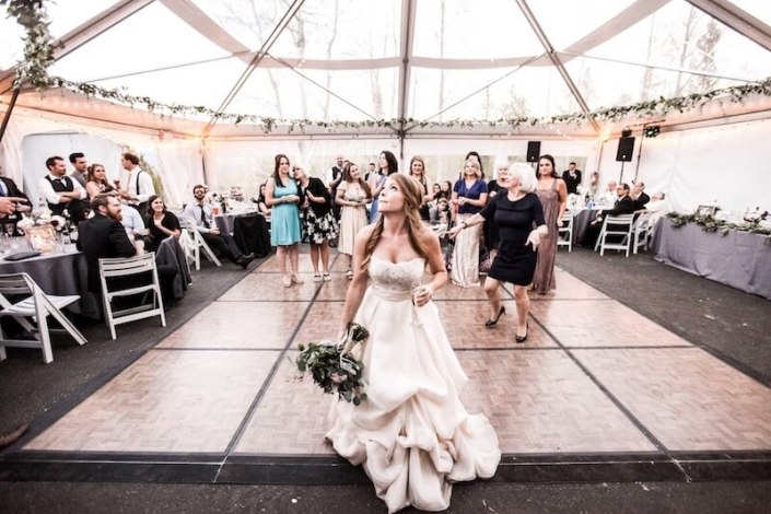 Parquet Dance Floor with Black Astro Turf & Clear Frame Wedding Tent