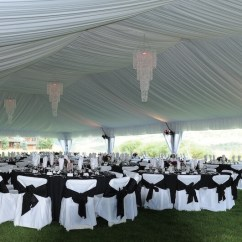 Chair Covers And Sashes Wheelchair Headrest Fabric Lined Tent With Chandeliers Event Rentals