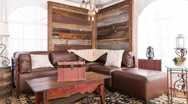 Lounge sofa and rustic decor