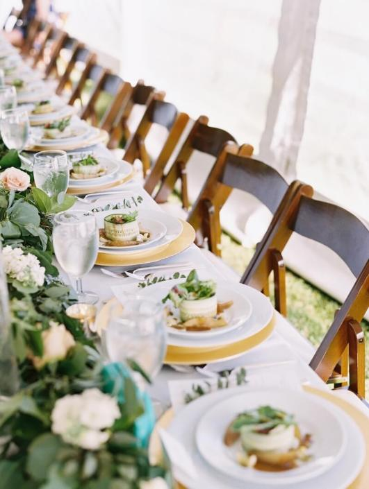 Head Table With Mahogany Padded Chairs, Napa Glassware & Deco Silverware