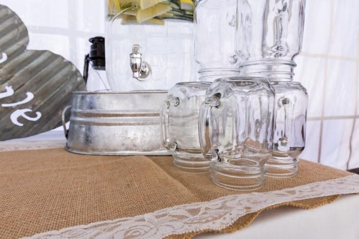 Mason Jar Glassware & Beverage Dispenser On Zinc Tub