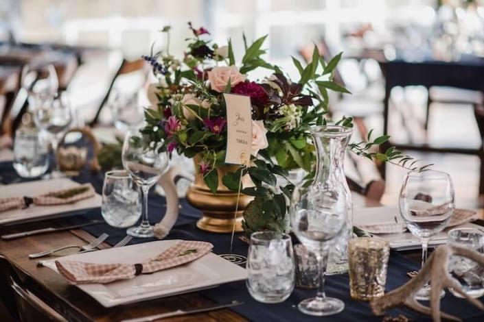 Farm Table With Square China, Regina Glassware & Stemless Wine Glasses