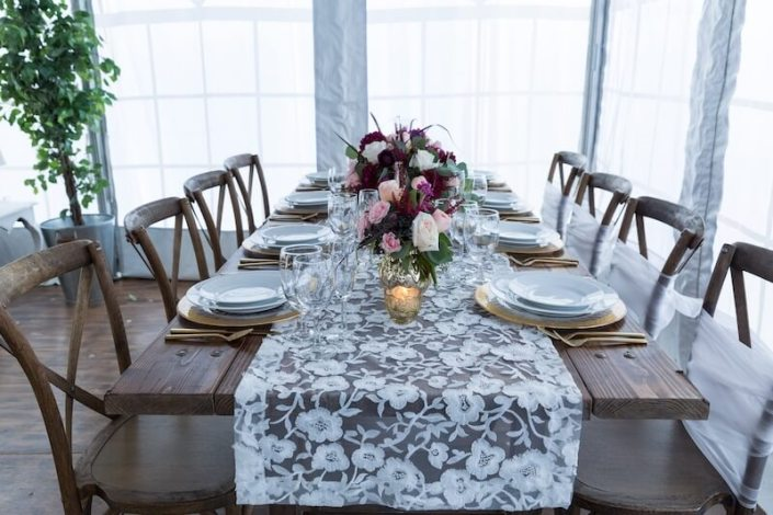Rustic Chic Farm Table & X Back Chairs With Gold Flatware & Lace Runner