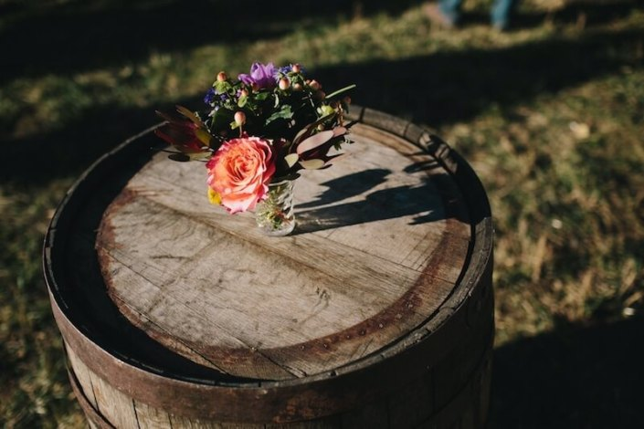 Rustic Whiskey Barrel Cocktail Table