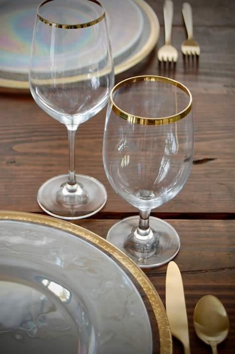 Glassware rentals- Forte gold rimmed glassware