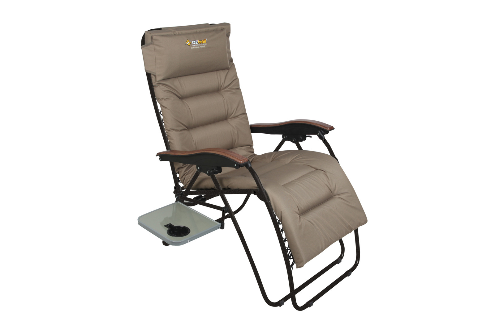 folding chair with side table hanging stand diy oztrail sun lounge brampton - tentworld