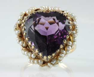 Antique Amethyst Seed Pearl Ring