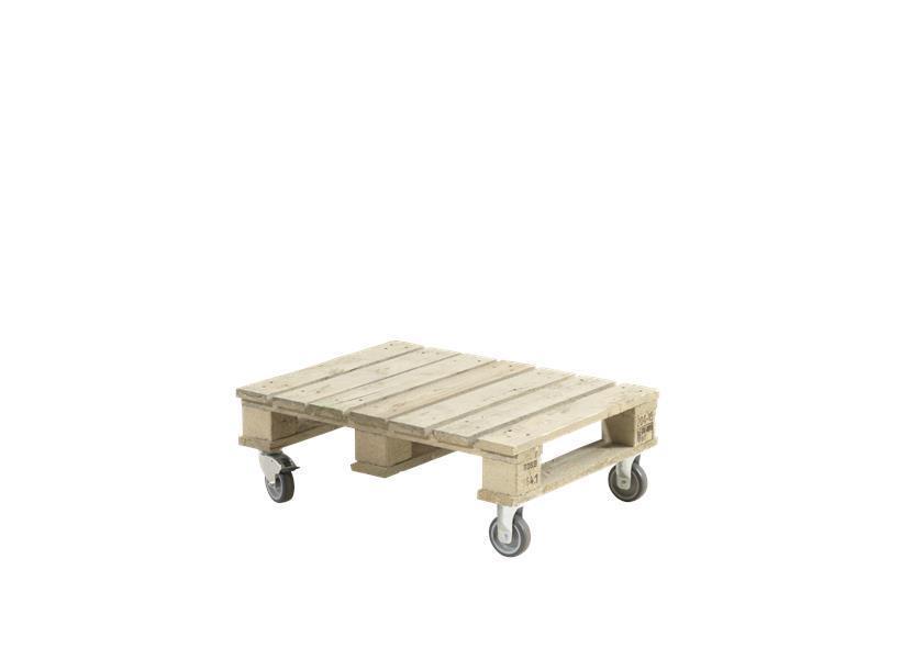 petite table basse de jardin en palette sur roulettes 80x60 cm