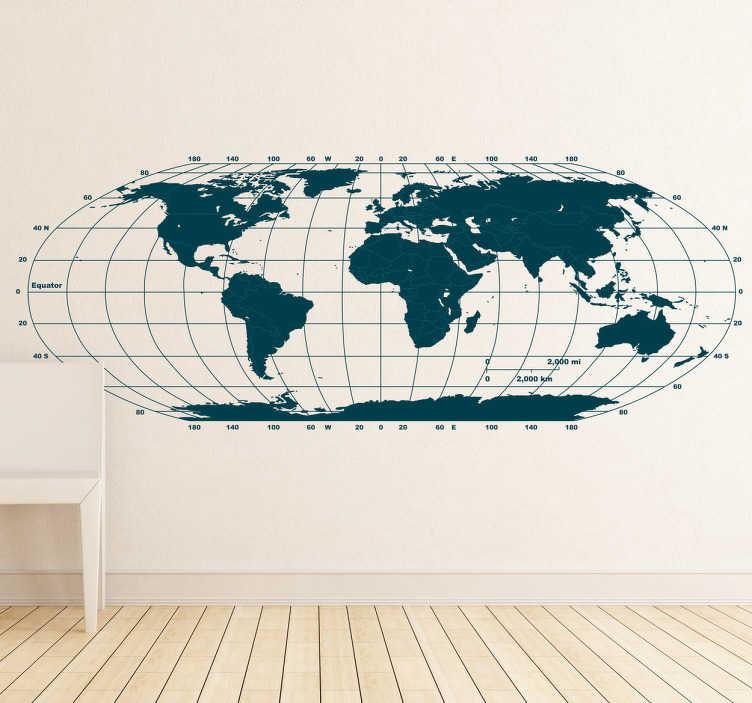Vinilo decorativo mapa mundo horizontal  TenVinilo