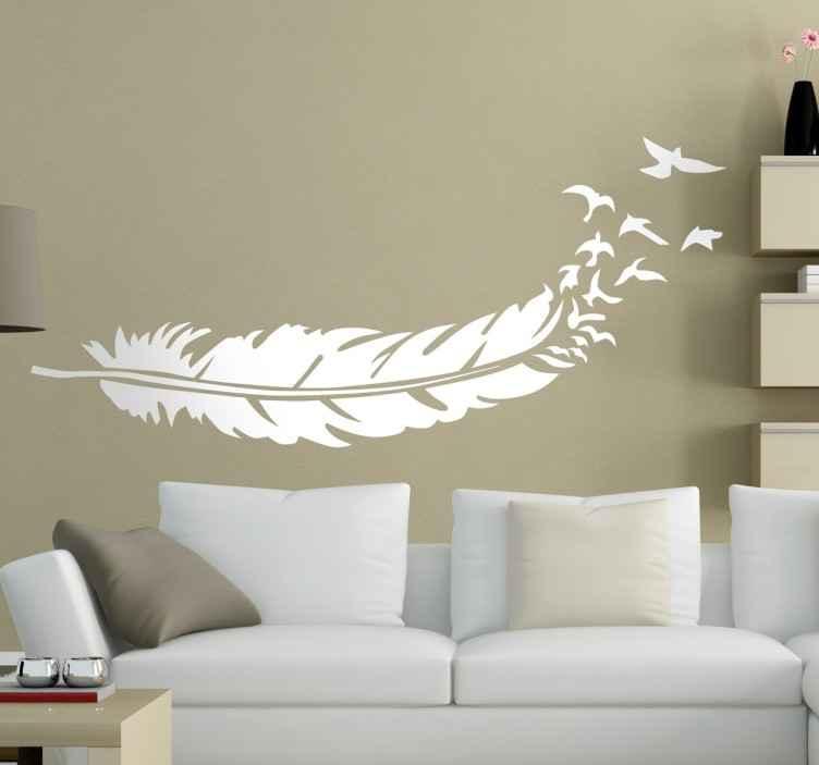 Vinilo decorativo pluma degrada a aves  TenVinilo