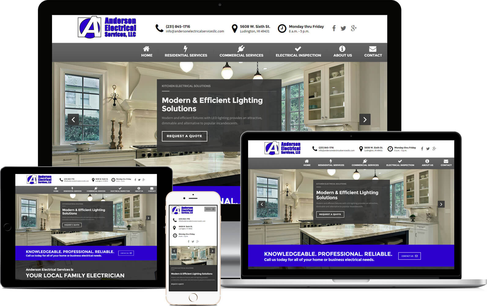 Responsive Web Design for Anderson Electrical Services in Ludington, MI