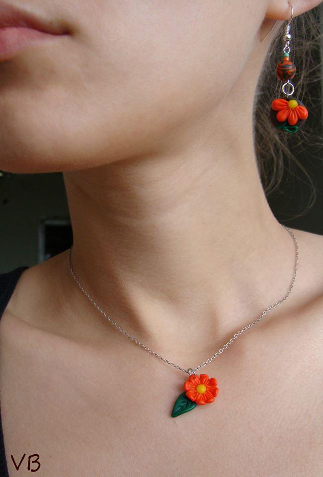 Veronica Barbu handmade set floral cercei lant