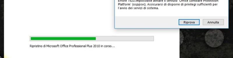 Office 2010 errore 1920