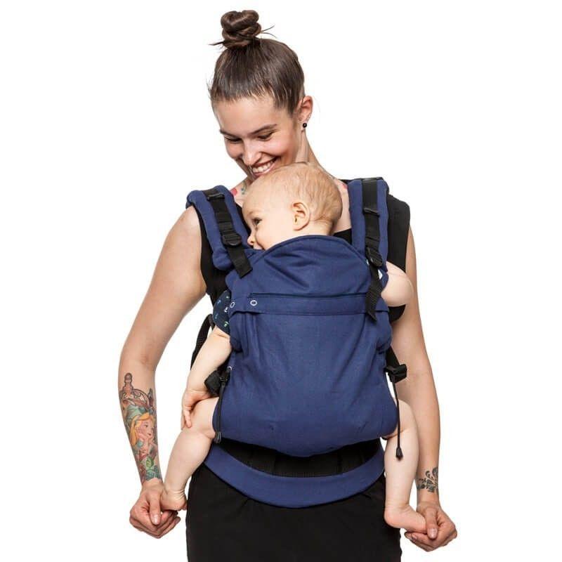 mochila portabebes ergonomica azul intenso adaptador