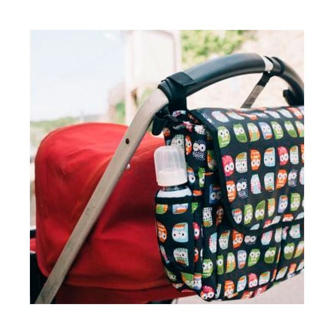 bolso carrito con solapa buhos de colores sobre fondo