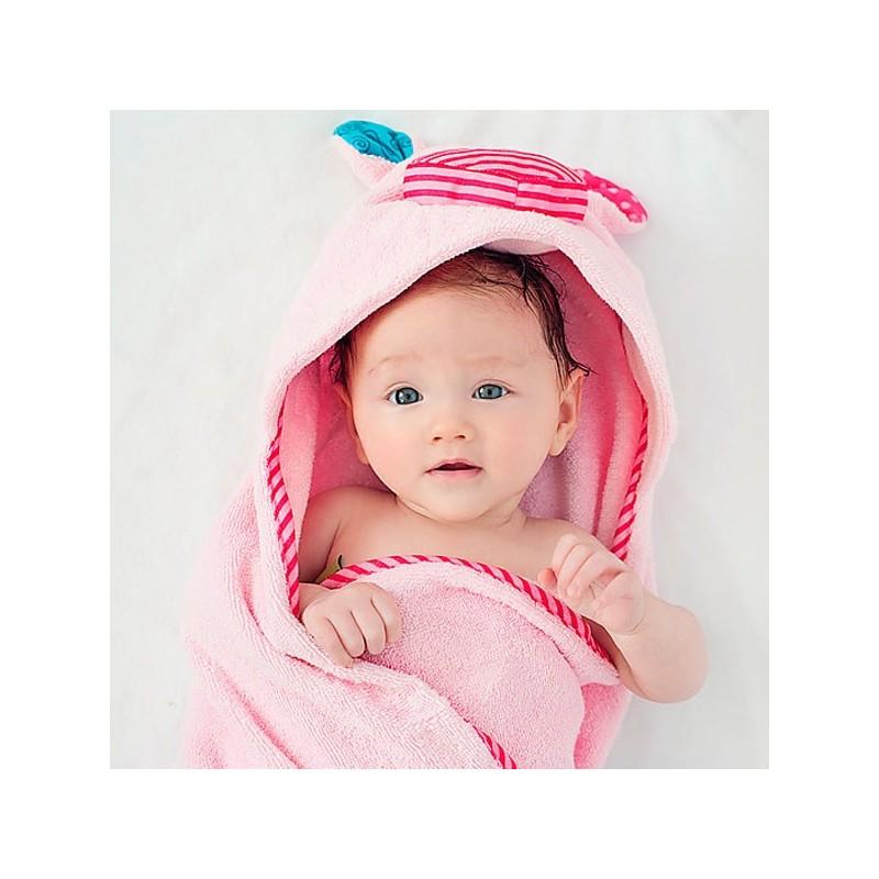 Capa de bao para beb cerdito toalla muy suave con cara