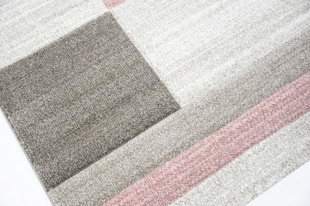 Designer und Moderner Teppich Wohnzimmer Teppich Karo muster Pastellfarben rosa  eBay