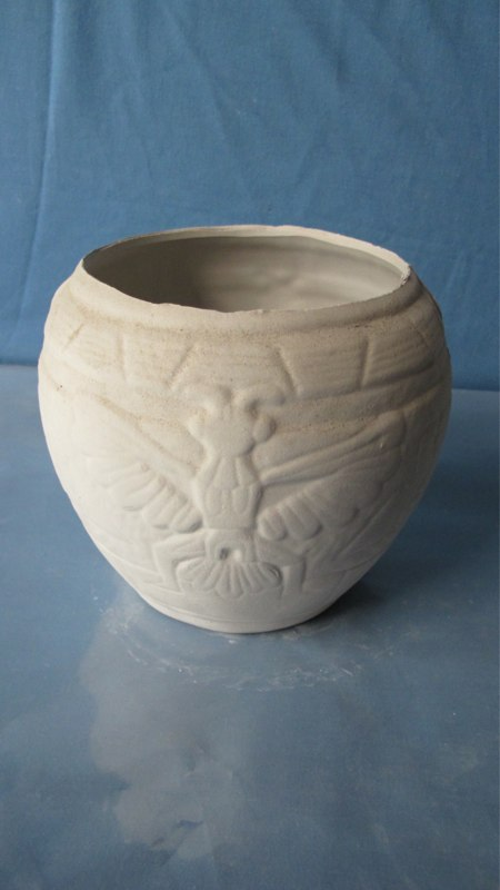PLANTER 38 insect /butterfly planter (worn)  14cmH,17cmW  bisqueware