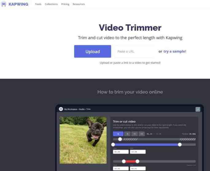 أدة قص الفيديو Online Video Trimmer by Kapwing