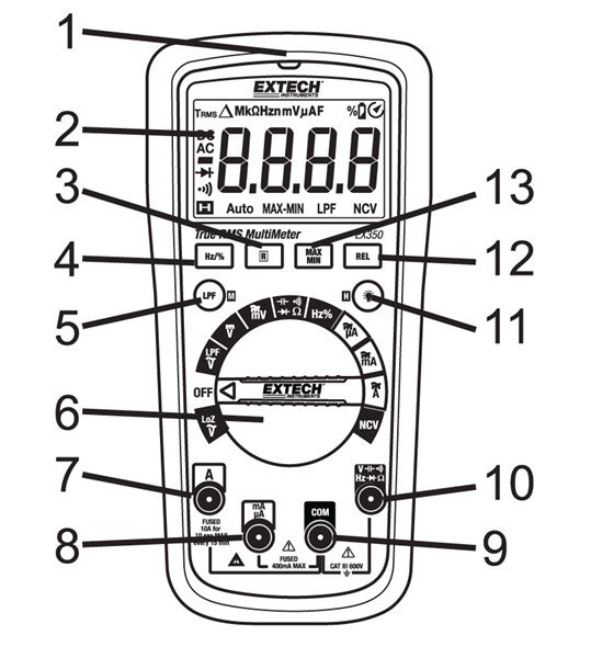 Extech EX350-NIST True RMS MultiMeter + NCV with NIST