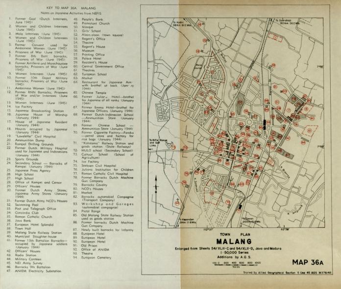 PETA Kota Malang dari Seksi Geografi Sekutu, koleksi dari Monash University