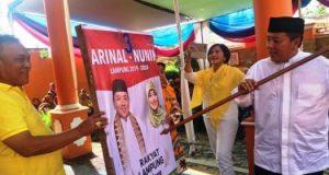 Arinal simulasi mencoblos tanda gambar paslon Pilgub Lampung 2018.