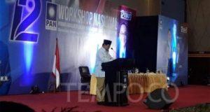 Calon presiden Prabowo Subianto menghadiri workshop nasional Partai Amanat Nasional (PAN) di Hotel Grand Paragon, Jakarta Barat, Minggu, 16 September 2018. TEMPO/Francisca Christy Rosana
