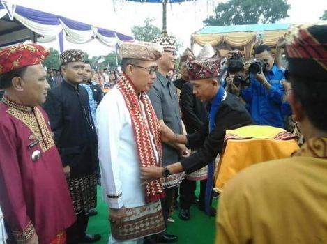 Plt Bupati Lampung Timur Zaiful Bukhro membulka Festival Budaya Makhgo Sekappung Libo, Senin, 17 Juni 2019.