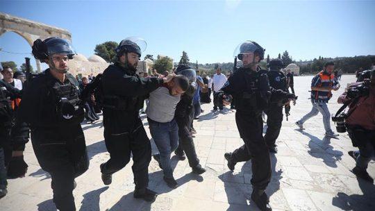 Pasukan Israel meringkus warga Palestina yang memprotes serangan tentara dan polisi Israel ke Masjid Al-Aqsa, Minggu, 11 Agustus 2019. Foto: AP via Al Jazeera