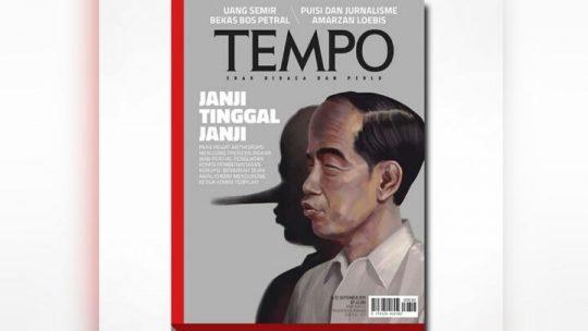Sampul majalah TEMPO edisi 16 September 2019. dok. TEMPO