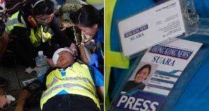 Veby Mega Indah mendapatkan pertolongan dari paramedis Hong Kong (Foto: @yukisuet1)