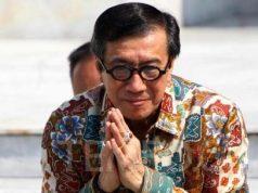 Menteri Hukum dan HAM Yasonna Laoly saat perkenalan Menteri Kabinet Indonesia Maju di Veranda Istana Negara, Jakarta, Rabu, 23 Oktober 2019. TEMPO/Subekti