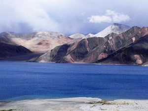 Pangong Tso and amazing coloured mountains beyond