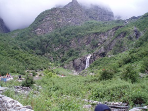 Waterfall view and track to Hemkund from Gangaria, India 2006