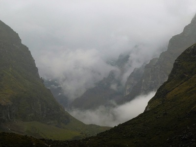 The misty, moody Himalayas near Badrinath Himalayan India