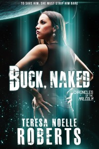 Cover of BUCK, NAKED. Attractive black woman on a starry, science-fiction background. By Kanaxa