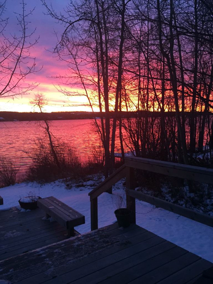 Autumn sunset at Charlie Lake