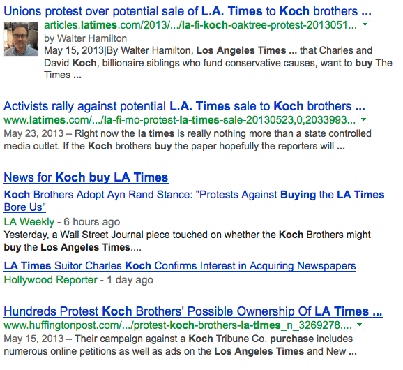 Koch Brothers to buy LA Times