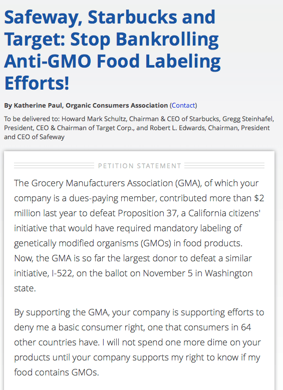 Petition to stop Safeway, Starbucks and Target from bankrolling anti-GMO labeling efforts