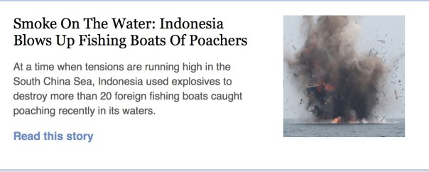 "Maritime Affairs and Fisheries Minister Susi Pudjiastuti led the blowing up on Tuesday of 23 foreign fishing boats caught poaching in Indonesian waters. Susi, as commander of the 115 Task Force, led the destruction of the boats from her office through live streaming. The force consists of officers from the ministry, the Navy and the National Police. ""The sinking of the boats is to enforce the law and to protect the sovereignty of our territory to ensure that the sea is the future of our nation,"" said Susi as reported by kompas.com. The 13 boats were registered in Vietnam and 10 in Malaysia. The sinking began simultaneously at 11 a.m. in seven location across the country and is legal under Law No. 31/2014 on the fisheries industry, she added. In West Kalimantan, two boats were sunk in waters around Datok Island, Mempawah regency. ""The fishing boats were seized in late February,"" said West Kalimantan Police chief Brig. Gen. Arief Sulistyanto on Tuesday. The two boats were among dozens of fishing boats caught fishing illegally by the water police, said Arief, adding that he appreciated local people's efforts to inform the police about the foreign boats' illegal activities."