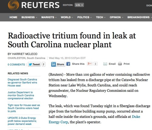 Radioactive tritium found in leak at South Carolina nuclear plant