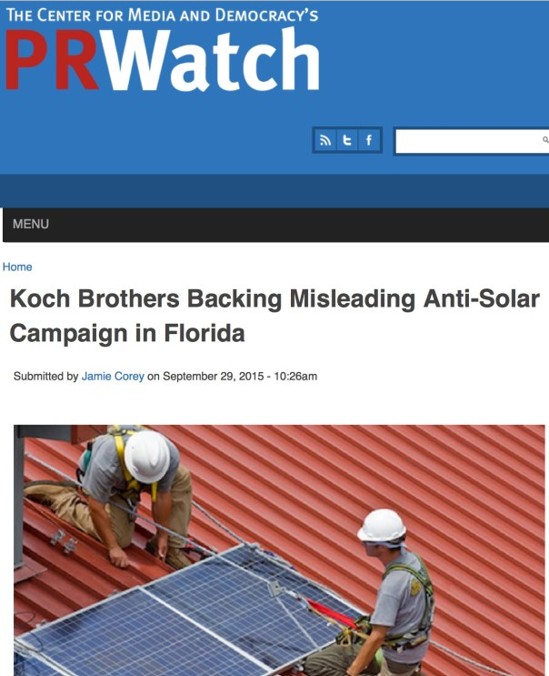 The Koch brothers and utility giants are bankrolling a ballot initiative in Florida to block the development of home solar and to protect the utilities' continuing oligopoly on energy generation in the Sunshine State. Solar is booming in the U.S., with a thirty percent increase in generation in 2014, but surprisingly it's facing an uphill battle in Florida. The state Public Service Commission--stacked with appointees hand-picked by Republican Governor Rick Scott for their current terms--have gutted Florida's energy efficiency goals and ended a solar power rebate program for homeowners. State law even prevents homeowners from installing solar panels by restricting the leasing of equipment by consumers.