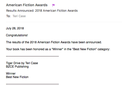 Tiger Drive Wins American Fiction Award