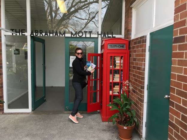 Image: Teri Case delivering Tiger Drive and In the Doghouse to a Street Library in Sydney, Australia.