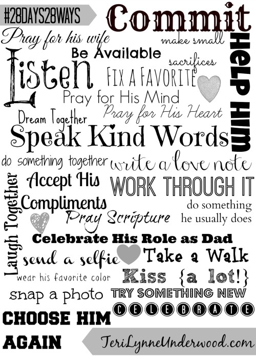 28 Days 28 Ways Printable || TeriLynneUnderwood.com