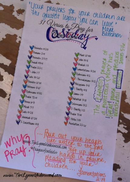 #PrayersforGirls printable list ... TeriLynneUnderwood.com