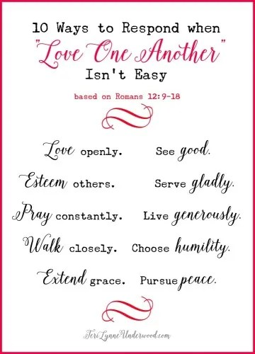 "10 Ways to Respond when ""Love One Another"" Isn't Easy — free printable!"