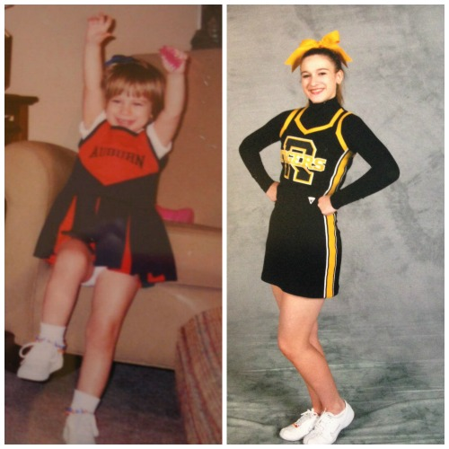 My cheerleader ... age 3 (left), age 15 (right)