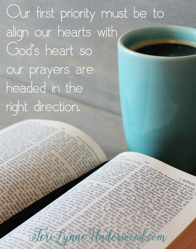 3 Steps to Praying God's Word: Our first priority must be to align our hearts with God's heart so our prayers are headed in the right direction. Some of the questions we can ask during this part of the process include: What does this passage reveal about the character, nature, plan, or will of God? What does this passage reveal about the character, nature, plan, or will of man? How must we be changed to align ourselves with the revealed nature of God in this passage? Questions like this help guard our prayers from the tendency toward self-centeredness.
