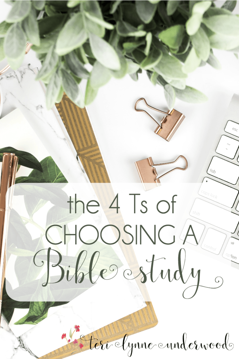 Choosing a Bible study doesn't have to be overwhelming. 4 factors to consider when selecting curriculum for your small group, women's ministry, or yourself.
